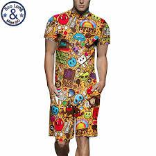 mens rompers cartoon print 3d jumpsuits