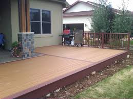 Exterior:Graceful Linen Wood Deck Design Ideas With White Fabric Patio And  Square Shaped Black