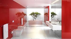 Interior:Astounding Red And White Interior For Tv Room With Glossy Wall  Panels Chic Bathroom