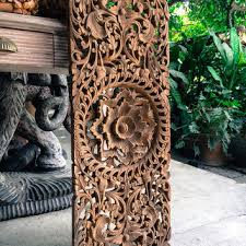 natural carved bed headboard panel wall art sculpture thai teak wood carving oriental on asian carved wood wall art with decorative wall relief panel with floral from siamsawadee on etsy