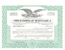 Stock Certificats Standard Stock Certificates Samples