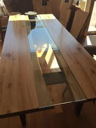 dining room table glass inlay. 8ft reverse live edge maple table with clear glass inlay. custom 4 post tapper leg dining room inlay i