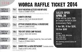 2 part raffle tickets raffle tickets on sale now whistler off road cycling association