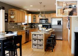 Light Grey Kitchen Walls With Oak Cabinets Kitchen Beige Wall Themes And Brown Wooden Oak Cabinet