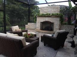 outdoor fireplace under lanai