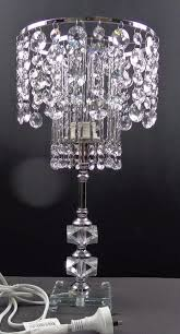 details about 42cm h 2 tiers chandelier crystal bedside table lamp stainless steel base