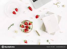 stylish home office desks. Stylish Home Office Desk Laptop Notebook Lipstick Fresh Raw Strawberries \u2014 Stock Photo Desks