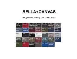 Bella Canvas 3005 Color Chart Long Sleeve Jersey Tee 3501 The Corporate Thread