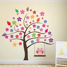 owl tree wall sticker flower wall decal girls room nursery home decor art