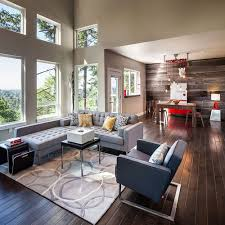 Wonderful Large Contemporary Open Concept Dark Wood Floor Living Room Idea In  Portland With Gray Walls