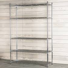 this 5 tier freestanding shelving unit boasts heavy duty chrome plated steel shelves to accommodate a variety of items whether you need to organize your