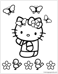 Coloring pages for kids can be a great way to see primary and secondary colors in action brightening up a piece of paper! Hello Kitty With Butterflies Coloring Pages Cartoons Coloring Pages Free Printable Coloring Pages Online