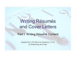 The Curriculum Vitae Handbook Adorable Writing Résumés And Cover Letters Part I Writing Résumé Content