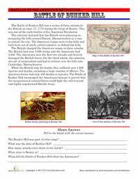 the battle of bunker hill bunker hill worksheets and social studies worksheets the battle of bunker hill