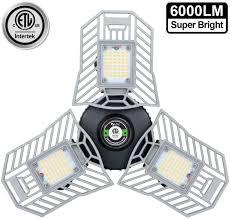 Garage Light 6000 Lm Deformable Led Garage Ceiling Lights 60w Cri 80 Led Workshop Lights For Garage Adjustable Panels Tribright Led Garage Lighting