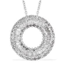 diamond platinum over sterling silver circle pendant with chain 20 in tdiawt 0