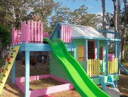 this custom candy coloured cubby was designed by dfr outdoor timber creations the delicious paint job might give you a toothache but the kids will adore