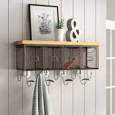entryway shelf with hooks you ll love