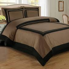 hotel taupe black twin xl duvet style comforter set wrinkle resistant cotton