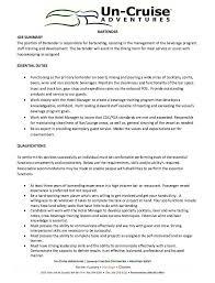 Brilliant Ideas Of Bartender Resume Description Creative Bartender