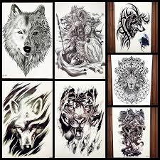 Black Knight Lion Tattoo Stickers Men Body Art Drawing Tiger Temporary Tattoo Women Chest Wolf Waterproof Tatoos Summer Style