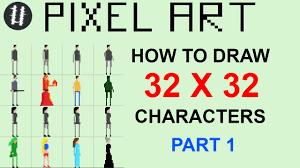Pixel Character Template How To Pixel Art Tutorials 13 Draw 32x32 Character Part 1