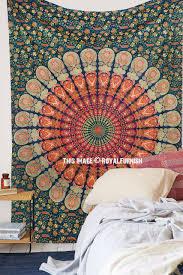 green small india psychedelic bohemian mandala tapestry wall hanging royalfurnish com