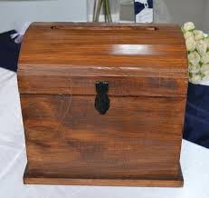 wedding large timber stained wooden treasure chest