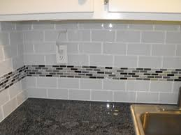 Mosaic Tile Kitchen Backsplash 22 Light Grey Subway White Grout With Decorative Line Of Mosaic