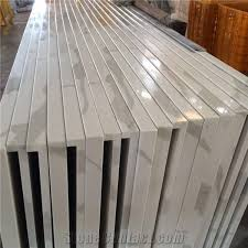 artificial calacatta white quartz marble stone vanity top bathroom countertops engineered stone faux marble bath top for hotel project