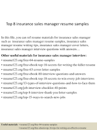 Insurance Sales Manager Resume Sample