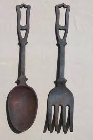 large fork spoon vintage cast iron metal wall art kitchen or restaurant sign plaques on large kitchen metal wall art with large fork spoon vintage cast iron metal wall art kitchen or