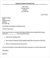 Confirmation Of Employment Letter Employee Verification Letter 14 Free Word Pdf Documents