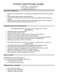Sample Resume For Security Guard Security Guard Resume Sample Writing Tips Resume Companion
