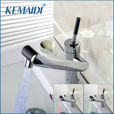 KEMAIDI New Deck Mounted Kitchen Faucet Temperature Sensor Swivel