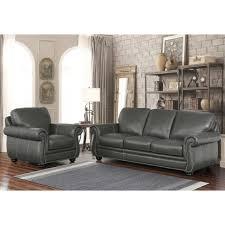 abbyson kassidy grey top grain leather 2 piece living room set