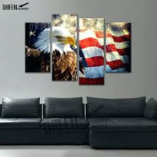 eagle wall art 4 panel framed painting flag with bald eagle wall art picture home decoration eagle wall art