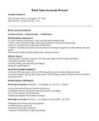 Sale Associate Resume Objective Amusing Retail Sales Associate