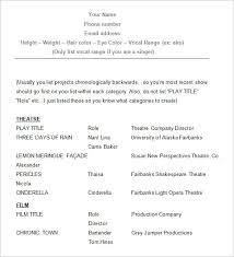 Acting Resume Sample Adorable 60 Acting Resume Templates Free Samples Examples Formats