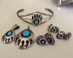 kathleen chavez rare full native american set of bear paw turquoise jewelry 052