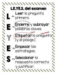Spanish Test Taking Strategy Anchor Chart Leyes