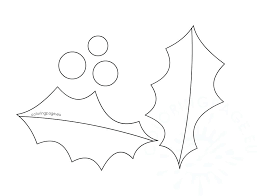 Holly Leaf Berry Outline Template Coloring Page Holly Leaf Berry