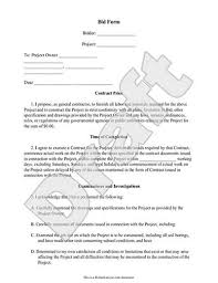 sample bid proposal template bid form bid proposal template for contractor construction