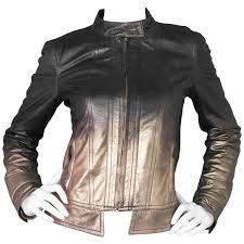 roberto cavalli bronze metallic ombre leather jacket sz s for