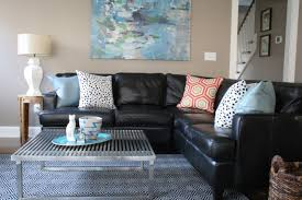 Living Room Black Leather Sofa Black Leather Sofa Couch With Cushions Plus Block And Leather