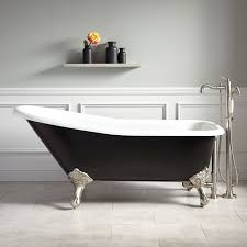 bathroom interesting cast iron clawfoot tub acrylic material black color brass finish legs free standing floor