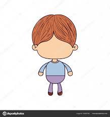 髪型と顔のかわいい男の子のカラフルな似顔絵 ストックベクター