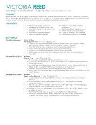 Server Resume Examples Interesting Head Waitress Resume Examples With Waiter Resume Sample Server
