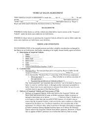 Automobile Sales Agreement Vehicle Purchase Agreement Fill Online Printable
