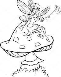 Elf Fairy Fantasy Cartoon Kleurplaten Pagina Stockvector